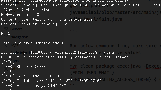 Java Mail API Example of Sending Email with Gmail
