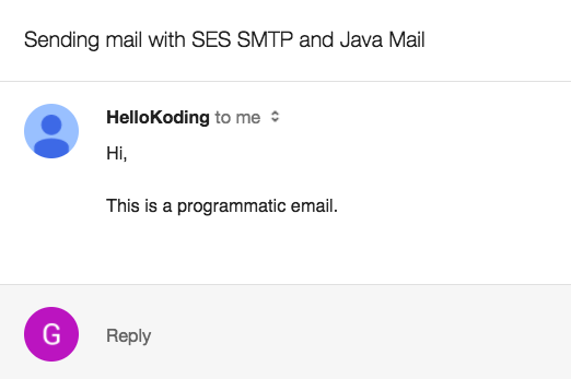 Java Mail API Example of Sending Email with AWS SES SMTP Server